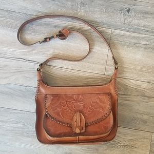 Patricia Nash Brown Leather Saddle Purse